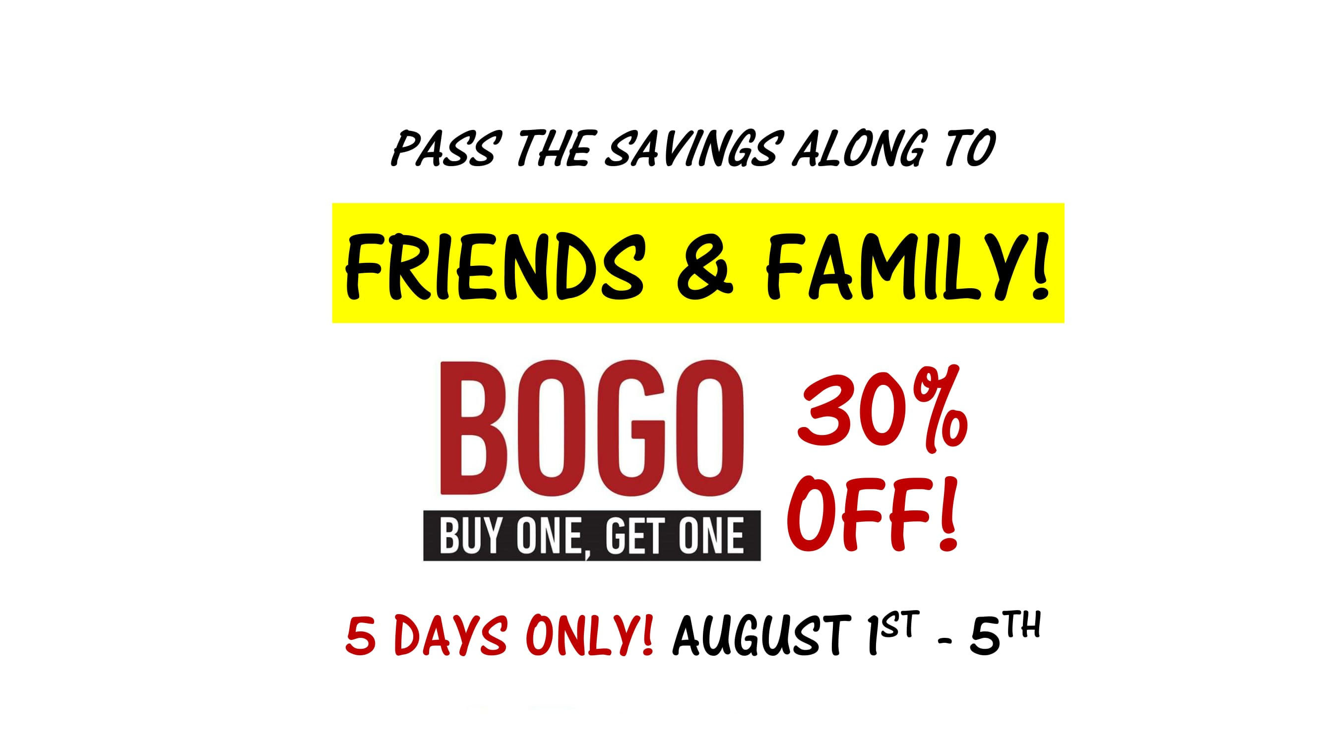 Advertisement banner for a BOGO 30% scooters and power wheelchairs. The first week of August only.
